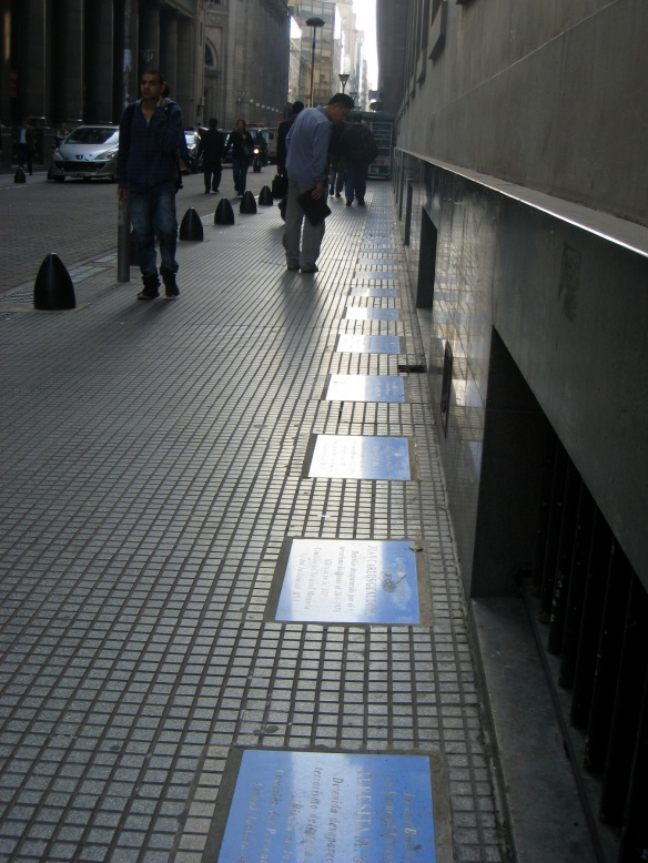 Disappeared names on Reconquista next to Banco de la Nación by Chance Miller